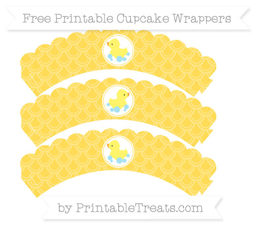 Free Mustard Yellow Fish Scale Pattern Baby Duck Scalloped Cupcake Wrappers