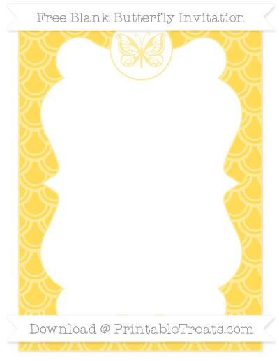 Free Mustard Yellow Fish Scale Pattern Blank Butterfly Invitation