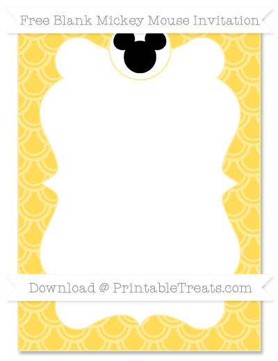 Free Mustard Yellow Fish Scale Pattern Blank Mickey Mouse Invitation