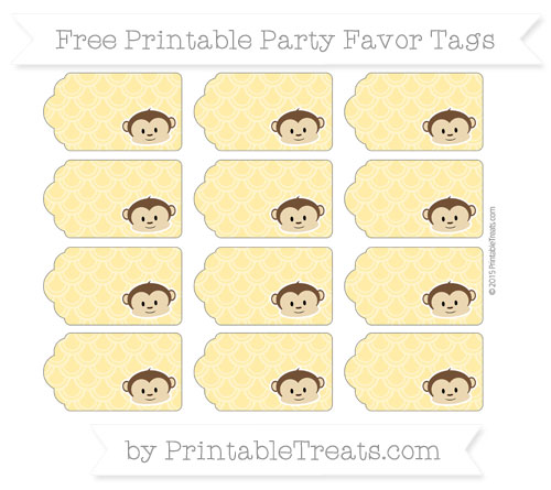 Free Mustard Yellow Fish Scale Pattern Boy Monkey Party Favor Tags
