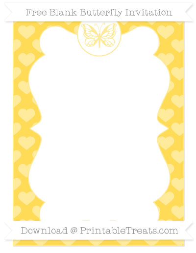 Free Mustard Yellow Heart Pattern Blank Butterfly Invitation