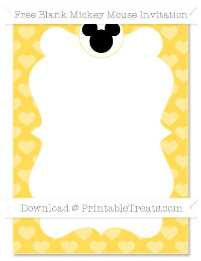 Free Mustard Yellow Heart Pattern Blank Mickey Mouse Invitation
