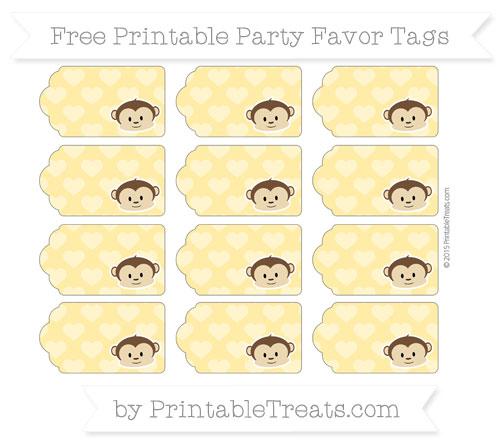 Free Mustard Yellow Heart Pattern Boy Monkey Party Favor Tags