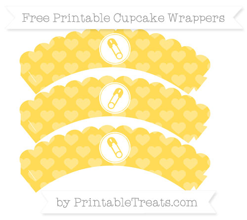 Free Mustard Yellow Heart Pattern Diaper Pin Scalloped Cupcake Wrappers