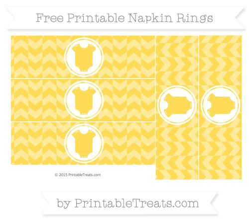 Free Mustard Yellow Herringbone Pattern Baby Onesie Napkin Rings