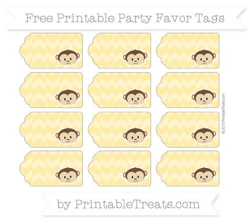 Free Mustard Yellow Herringbone Pattern Boy Monkey Party Favor Tags
