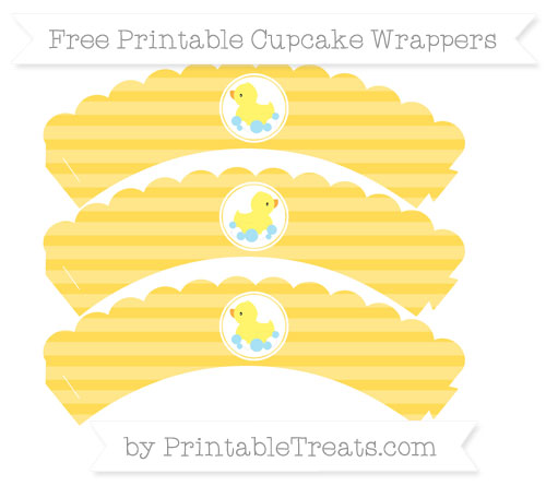 Free Mustard Yellow Horizontal Striped Baby Duck Scalloped Cupcake Wrappers