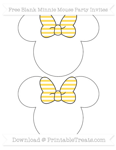 Free Mustard Yellow Horizontal Striped Blank Minnie Mouse Party Invites