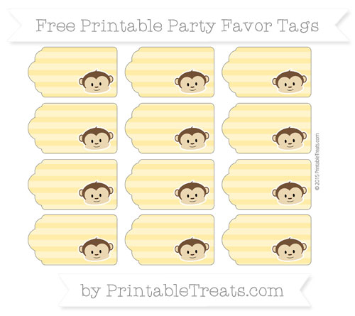 Free Mustard Yellow Horizontal Striped Boy Monkey Party Favor Tags
