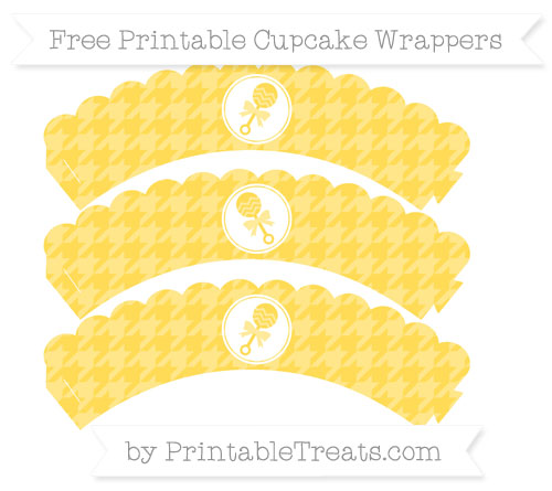 Free Mustard Yellow Houndstooth Pattern Baby Rattle Scalloped Cupcake Wrappers