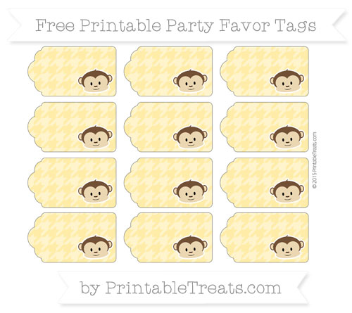 Free Mustard Yellow Houndstooth Pattern Boy Monkey Party Favor Tags