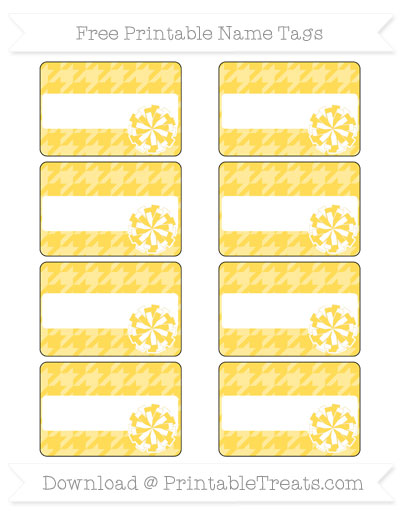 Free Mustard Yellow Houndstooth Pattern Cheer Pom Pom Tags