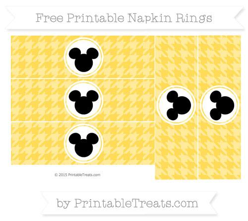 Free Mustard Yellow Herringbone Pattern Mickey Mouse Napkin Rings