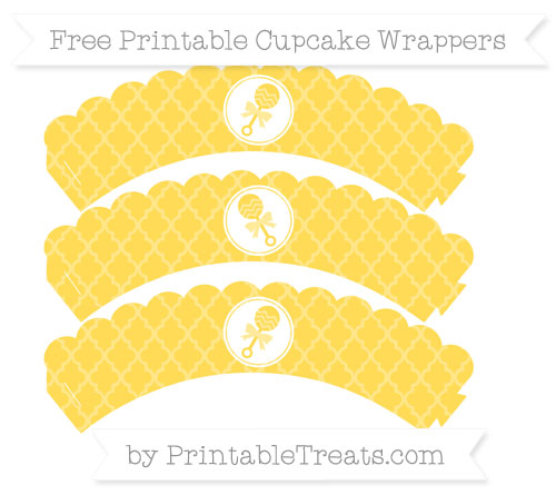 Free Mustard Yellow Moroccan Tile Baby Rattle Scalloped Cupcake Wrappers