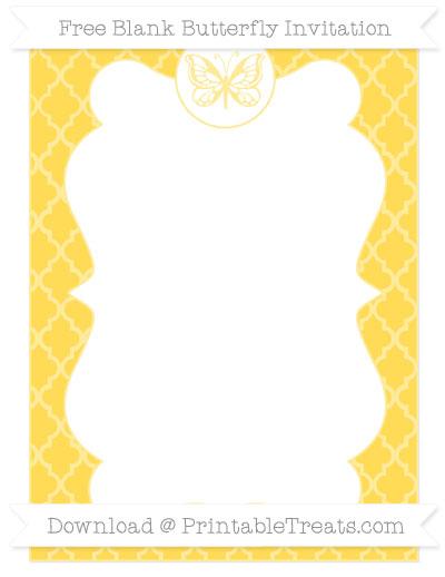Free Mustard Yellow Moroccan Tile Blank Butterfly Invitation