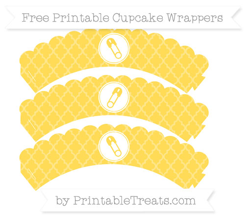 Free Mustard Yellow Moroccan Tile Diaper Pin Scalloped Cupcake Wrappers