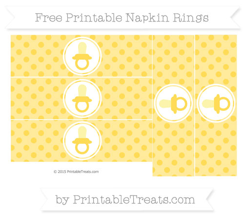 Free Mustard Yellow Polka Dot Baby Pacifier Napkin Rings