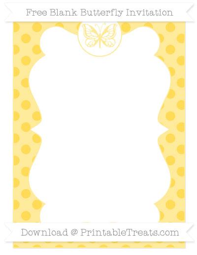 Free Mustard Yellow Polka Dot Blank Butterfly Invitation