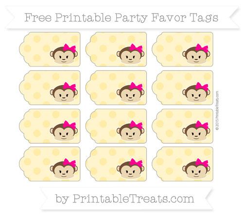 Free Mustard Yellow Polka Dot Girl Monkey Party Favor Tags
