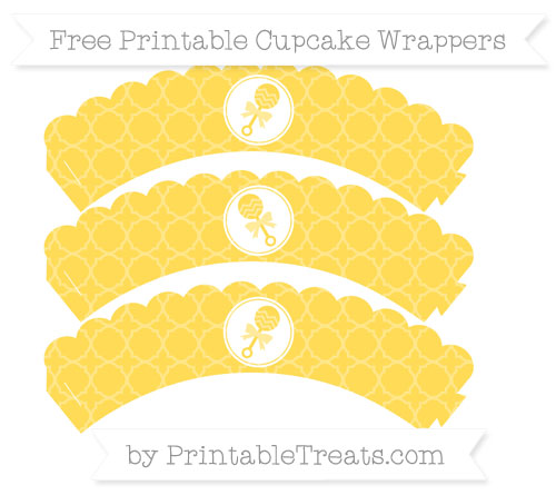 Free Mustard Yellow Quatrefoil Pattern Baby Rattle Scalloped Cupcake Wrappers