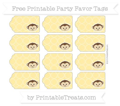 Free Mustard Yellow Quatrefoil Pattern Boy Monkey Party Favor Tags