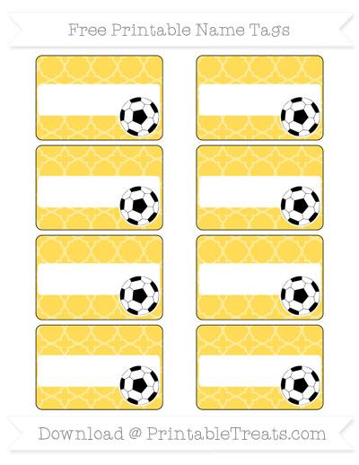 Free Mustard Yellow Quatrefoil Pattern Soccer Name Tags