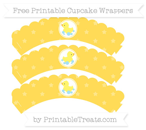 Free Mustard Yellow Star Pattern Baby Duck Scalloped Cupcake Wrappers