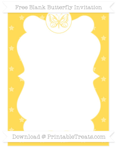 Free Mustard Yellow Star Pattern Blank Butterfly Invitation