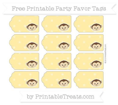 Free Mustard Yellow Star Pattern Boy Monkey Party Favor Tags