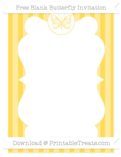 Free Mustard Yellow Striped Blank Butterfly Invitation