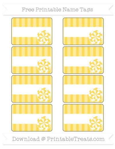 Free Mustard Yellow Striped Cheer Pom Pom Tags