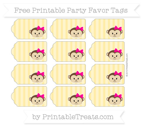 Free Mustard Yellow Striped Girl Monkey Party Favor Tags