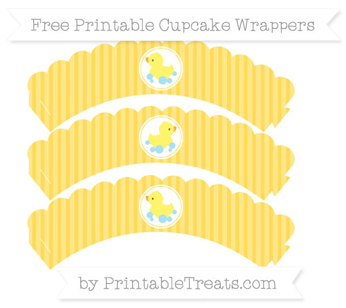 Free Mustard Yellow Thin Striped Pattern Baby Duck Scalloped Cupcake Wrappers