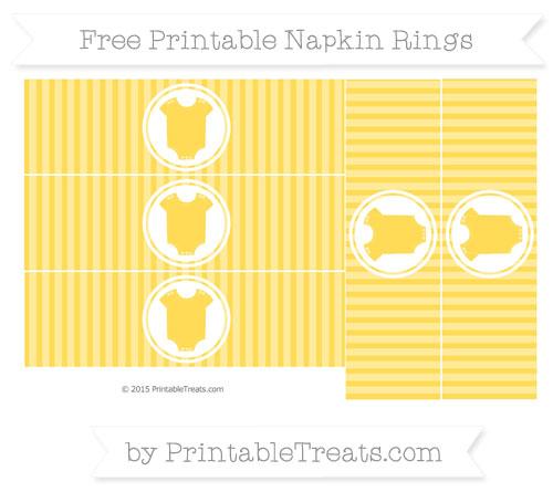 Free Mustard Yellow Thin Striped Pattern Baby Onesie Napkin Rings
