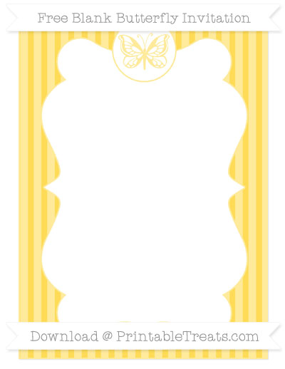 Free Mustard Yellow Thin Striped Pattern Blank Butterfly Invitation