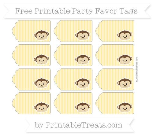 Free Mustard Yellow Thin Striped Pattern Boy Monkey Party Favor Tags
