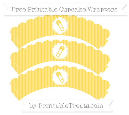 Free Mustard Yellow Thin Striped Pattern Diaper Pin Scalloped Cupcake Wrappers