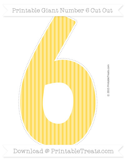 Free Mustard Yellow Thin Striped Pattern Giant Number 6 Cut Out