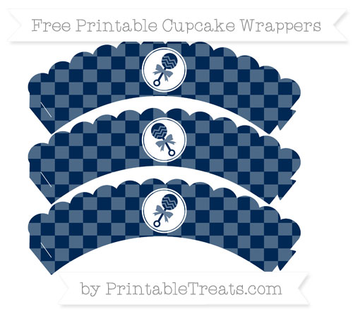 Free Navy Blue Checker Pattern Baby Rattle Scalloped Cupcake Wrappers