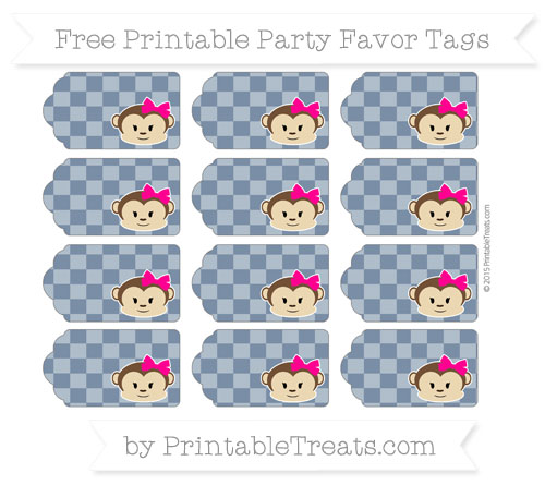 Free Navy Blue Checker Pattern Girl Monkey Party Favor Tags