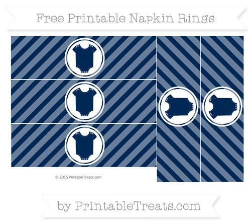 Free Navy Blue Diagonal Striped Baby Onesie Napkin Rings