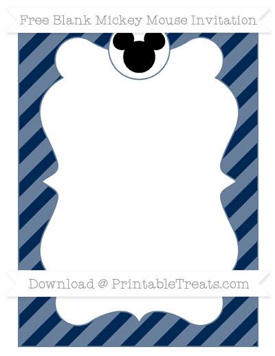 Free Navy Blue Diagonal Striped Blank Mickey Mouse Invitation