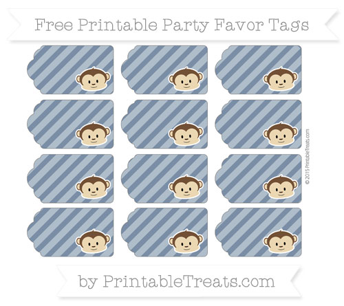 Free Navy Blue Diagonal Striped Boy Monkey Party Favor Tags