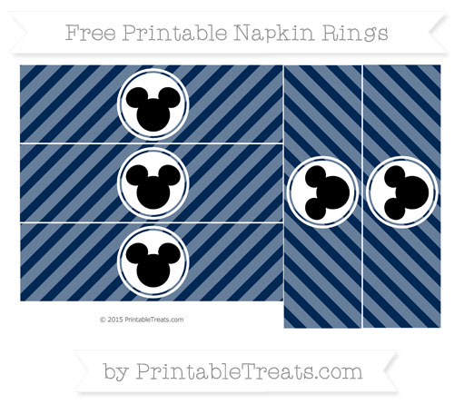Free Navy Blue Diagonal Striped Mickey Mouse Napkin Rings