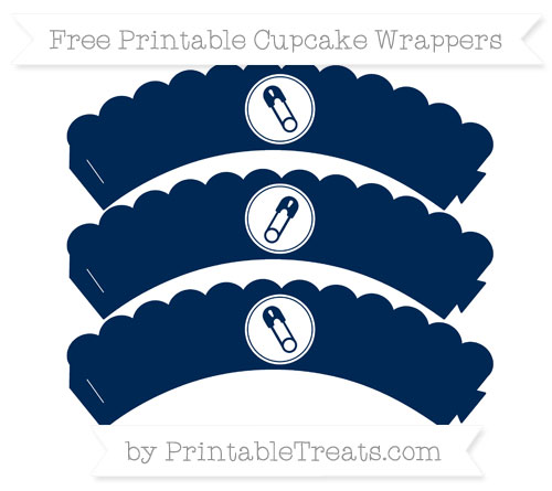 Free Navy Blue Diaper Pin Scalloped Cupcake Wrappers
