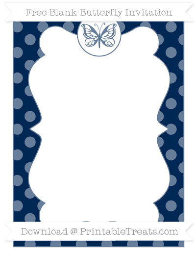 Free Navy Blue Dotted Pattern Blank Butterfly Invitation