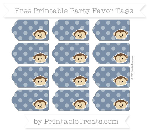Free Navy Blue Dotted Pattern Boy Monkey Party Favor Tags