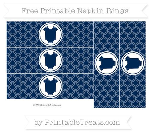 Free Navy Blue Fish Scale Pattern Baby Onesie Napkin Rings