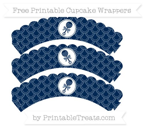 Free Navy Blue Fish Scale Pattern Baby Rattle Scalloped Cupcake Wrappers