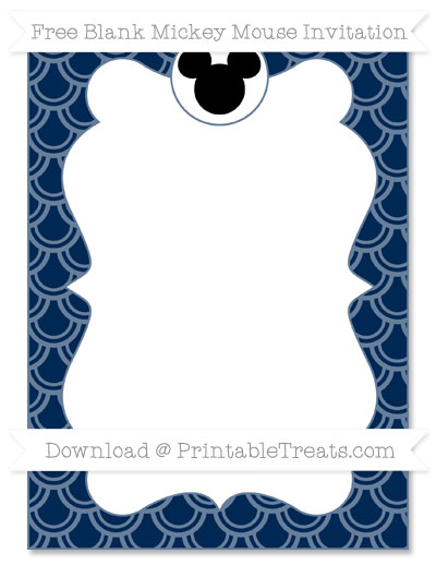 Free Navy Blue Fish Scale Pattern Blank Mickey Mouse Invitation